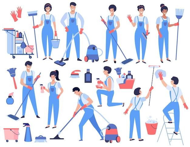 Conjunto de serviço de limpeza homens e mulheres uniformizados trabalham com o equipamento