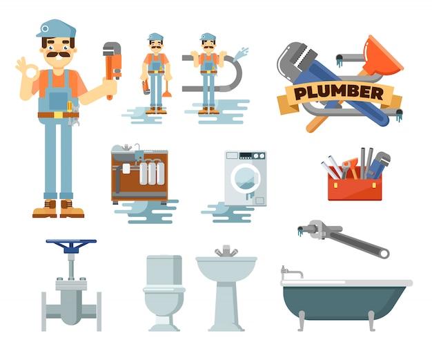 Conjunto de serviço de reparo de encanamento profissional