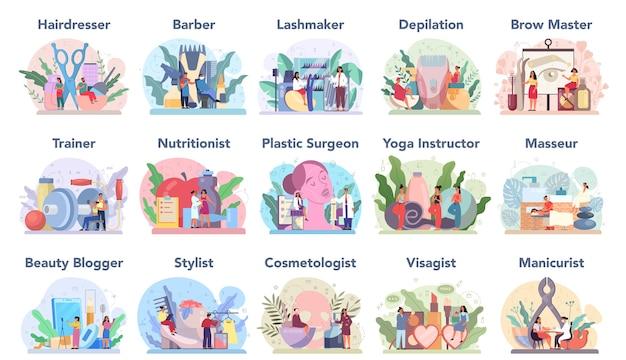 Conjunto de serviço e profissão de beleza. procedimento de salão de beleza. massagista, manicure, visagista, mestre de depilação e sobrancelha. barbeiro e cabeleireiro, cabeleireiro e cosmetologista.