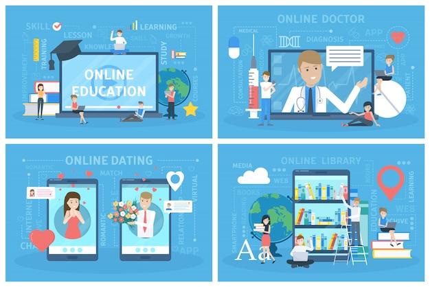Conjunto de serviço online. namoro e educação, consulta médica.