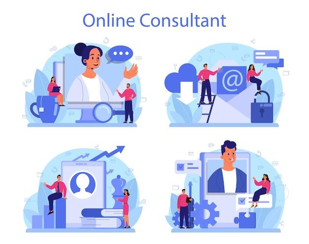 Conjunto de serviços de consultoria profissional. pesquisa e recomendação.