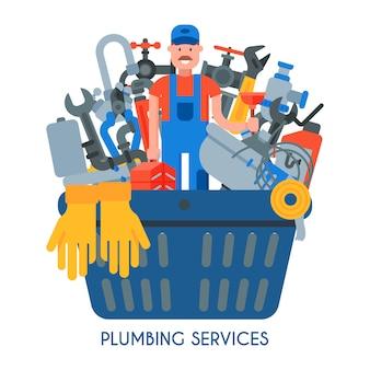Conjunto de serviços de encanamento. homem profissional encanador com maleta de ferramentas e desentupidor entre coisas de encanamento para reparo e ferramentas está em uma cesta grande.