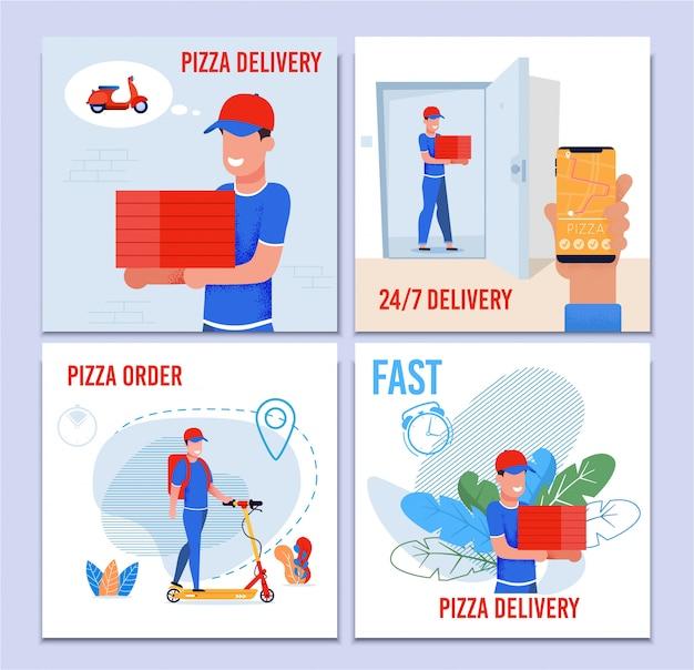 Conjunto de serviços de entrega rápida de pizza 24 horas