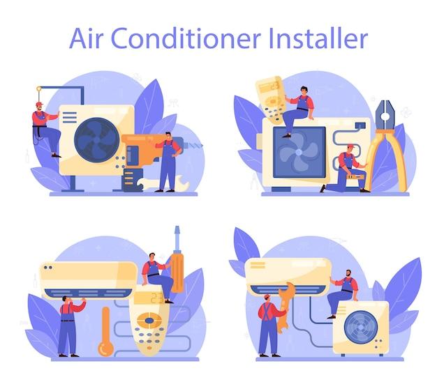 Conjunto de serviços de reparo e instalação de ar condicionado