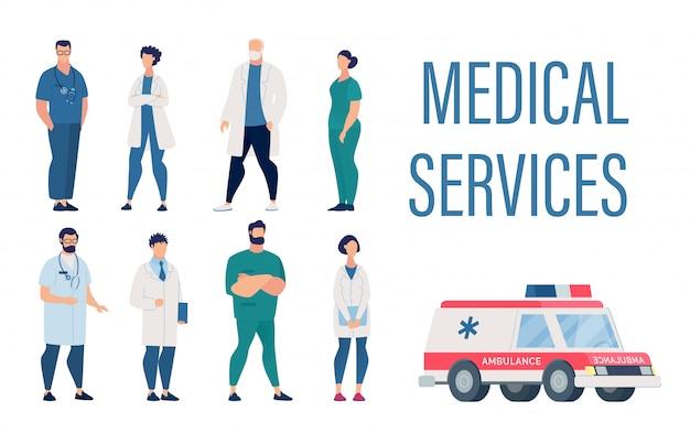 Conjunto de serviços médicos com funcionários do hospital dos desenhos animados