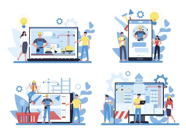 Conjunto de serviços online de construção de casas. loja e consulta online. processo de construção de uma casa. conceito de desenvolvimento da cidade.
