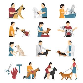 Conjunto de serviços para cães veterinários