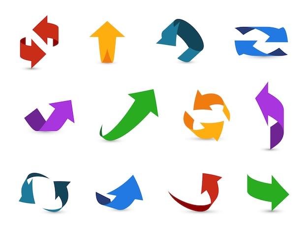Conjunto de seta 3d. setas coloridas símbolos economia informação caminho circular interface acima ícones de cursor de direção de internet