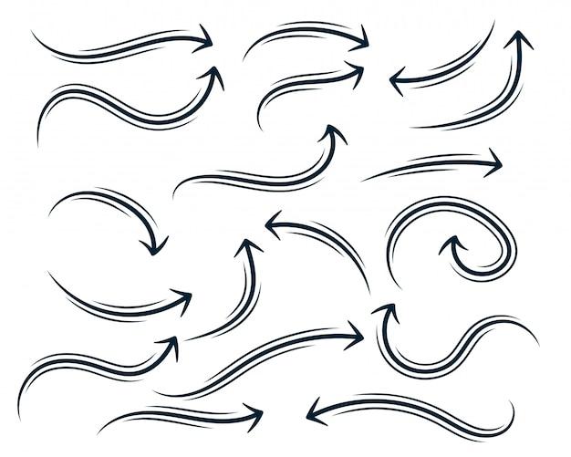 Conjunto de seta curvilíneas abstrata desenhada mão