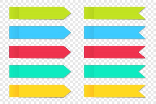 Conjunto de seta de adesivos de nota de post com sombra