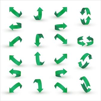Conjunto de seta de fita verde.