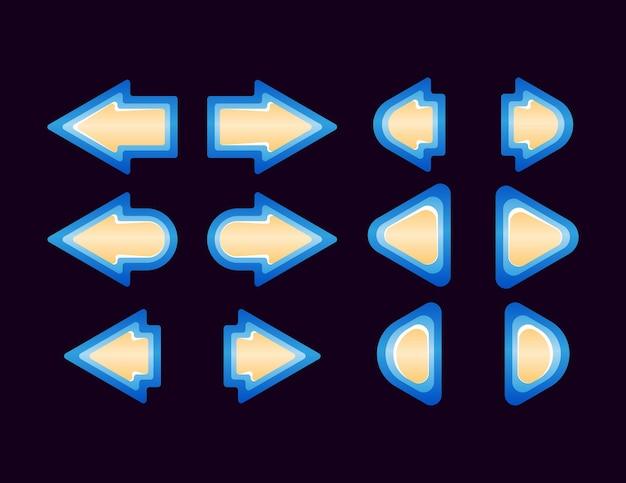Conjunto de seta do botão da interface do usuário do jogo de fantasia