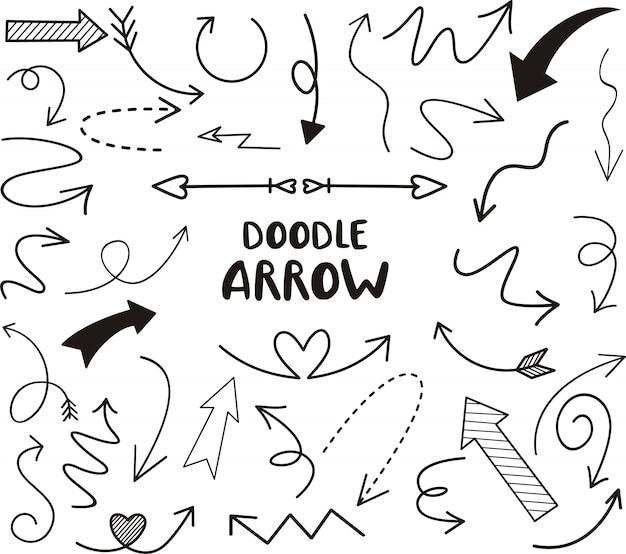 Conjunto de seta doodle, ilustração vetorial