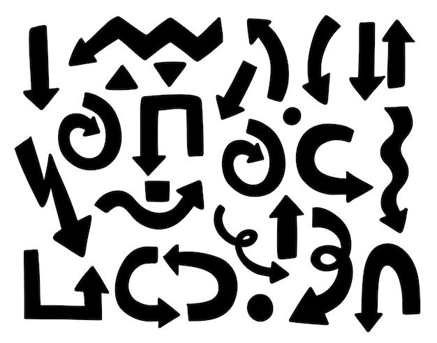 Conjunto de seta mão desenhada. coleção isolada