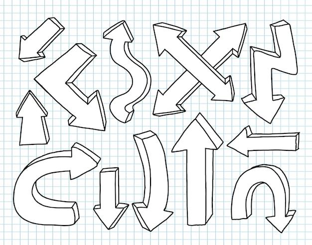 Conjunto de seta mão desenhada. projeto de elemento de coleção isolado.