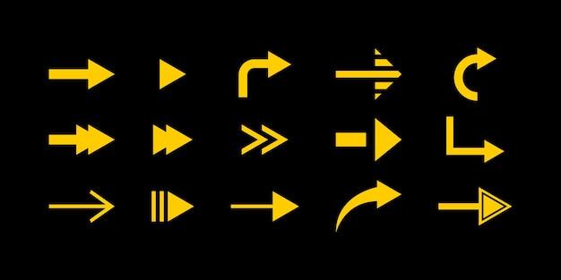 Conjunto de seta plana simples cor amarela