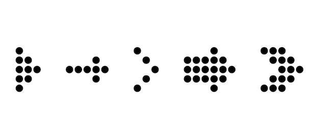Conjunto de seta preta pontilhada. ícone de setas. coleção de vetores de seta pontilhada