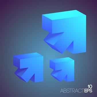 Conjunto de setas 3d abstrato