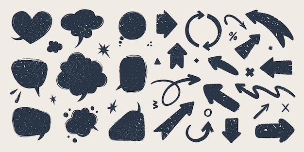Conjunto de setas abstratas e balões de fala