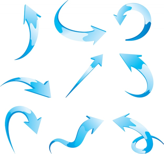 Conjunto de setas azuis do vetor