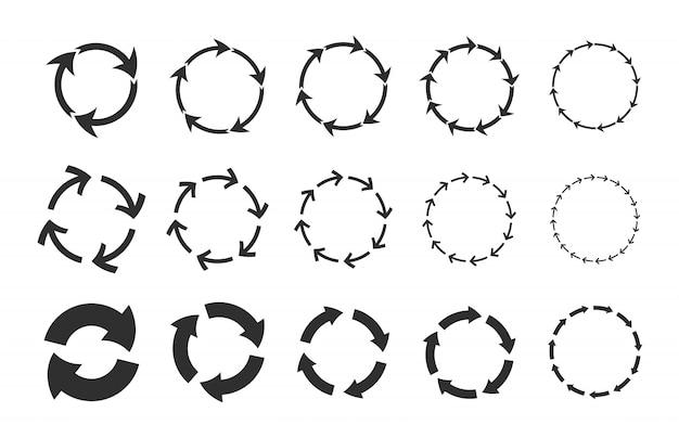 Conjunto de setas circulares de reciclagem