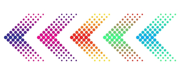 Conjunto de setas coloridas com efeito de meio-tom
