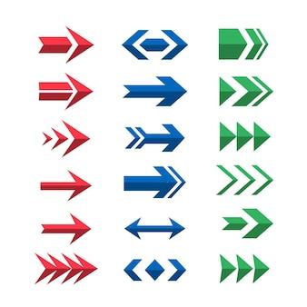 Conjunto de setas coloridas de design plano