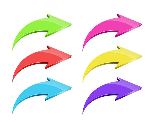 Conjunto de setas coloridas de vetor em branco