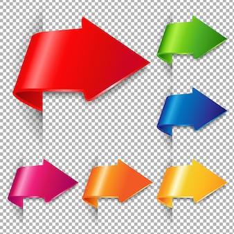 Conjunto de setas coloridas