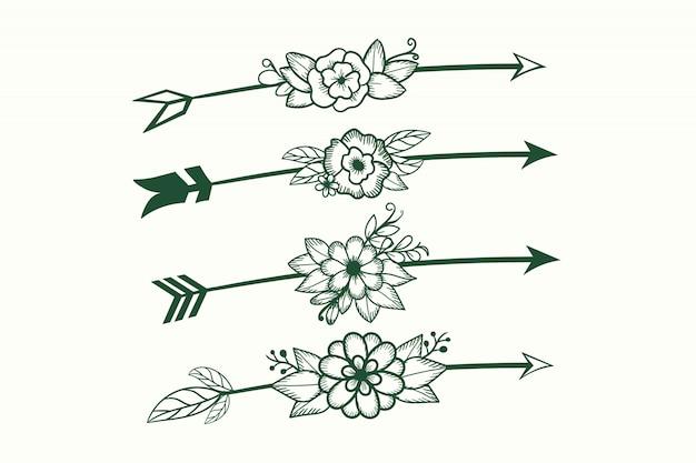 Conjunto de setas com elemento boêmio de flor