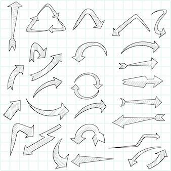 Conjunto de setas criativas desenhadas à mão
