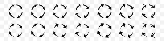 Conjunto de setas de círculo preto em fundo transparente