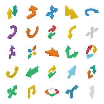 Conjunto de setas de direção isométricas