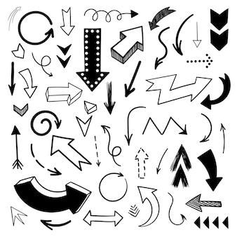 Conjunto de setas de doodle de vetor coleção desenhada à mão