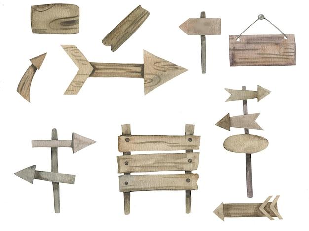Conjunto de setas de madeira pintadas à mão em aquarela, placas de sinalização, modelo de quadro de avisos