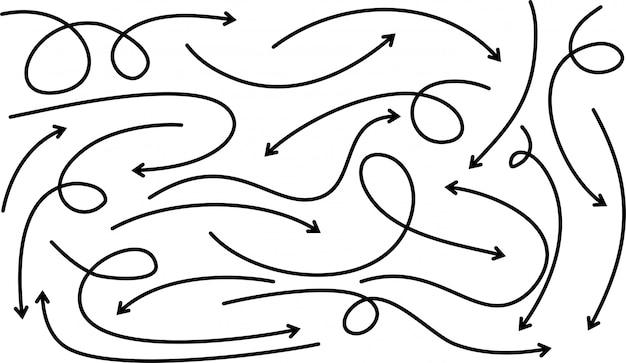 Conjunto de setas de mão desenhada. doodle elementos de design.