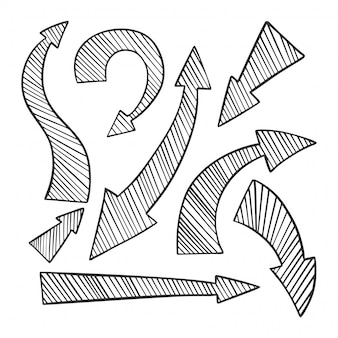 Conjunto de setas de mão desenhada, ícones de direções diferentes.