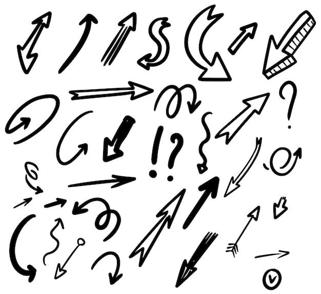 Conjunto de setas de mão desenhada isoladas no fundo branco. elemento de design para cartaz, cartão, banner, infográfico. ilustração vetorial