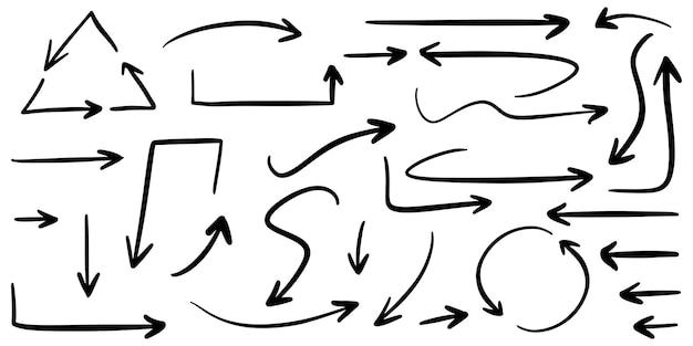 Conjunto de setas de mão desenhada isoladas no fundo branco. para infográfico de negócios, banner, web e design de conceito. elementos de design do vetor doodle.