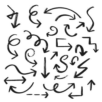 Conjunto de setas de mão desenhada