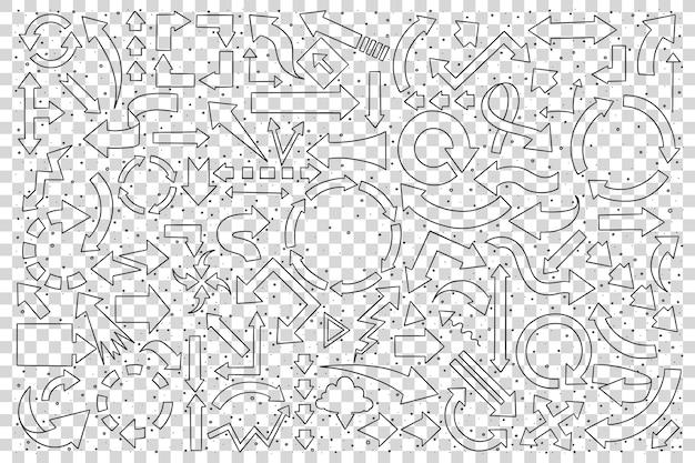 Conjunto de setas de mão desenhada.