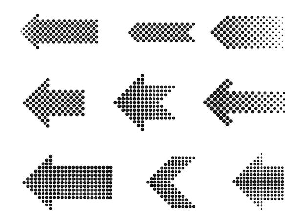 Conjunto de setas de meio-tom pontilhadas