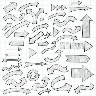 Conjunto de setas de negócios para desenho geométrico de mão