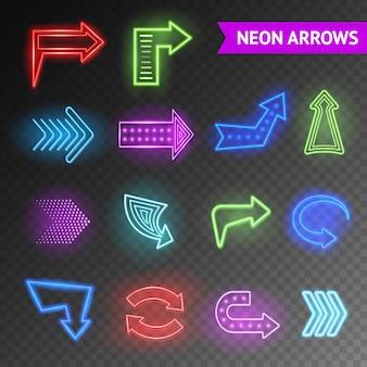 Conjunto de setas de néon brilhante