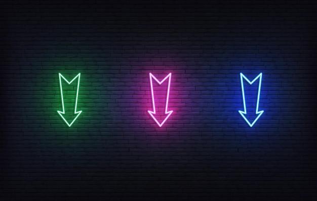 Conjunto de setas de néon. ícones de setas de quadro indicador colorido brilhante.