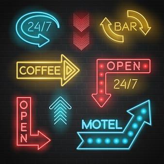 Conjunto de setas de neon motel e bar
