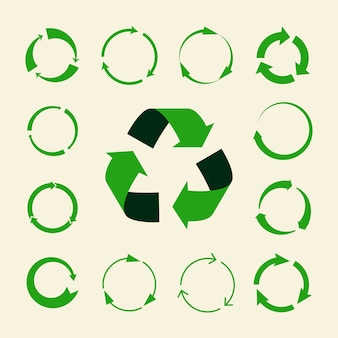 Conjunto de setas de reciclagem