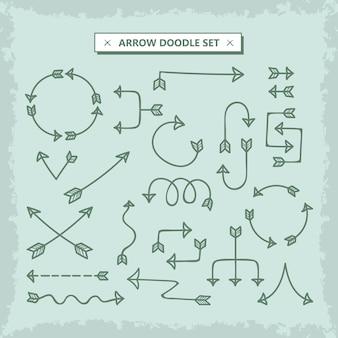 Conjunto de setas de vetor de doodle mão desenhada