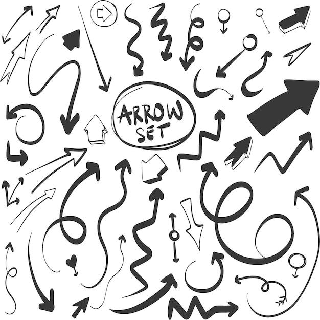 Conjunto de setas de vetor de mão desenhada conjunto de setas doodle em fundo branco criatividade e negócios