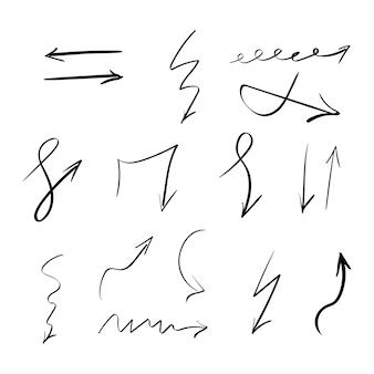 Conjunto de setas de vetor desenhado à mão